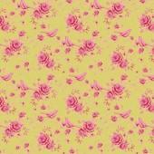 """Ткань Тильда """"Птички и розы зелёный"""", 50х70 см, 100% хлопок, арт. 0304936, Tilda"""