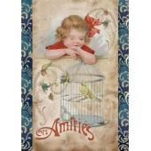 Войлочное полотно с рисунком, 14,8х21 см, 1 мм, FLSS/ST35 Девочка и птичка