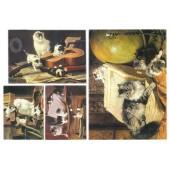 """Бумага рисовая для декупажа Stamperia DFS137 """"Картины с кошками"""", 48х33 см"""