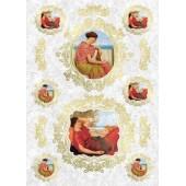 """Рисовая бумага для декупажа Kalit IRP0076 """"Портреты античных женщин в рамках"""", 32х45 см"""
