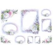 "Бумага рисовая для декупажа To-Do R040 ""Рамки с розами"", cod. 91976, 35х50 см"