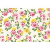 """Бумага рисовая для декупажа Stamperia DFS206 """"Розовые и жёлтые цветы"""", 48х33 см"""