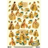 "Декупажная карта E-078 ""Жёлтые розы"", 42х29,7 см, 40 г/м2, Vintage Design"