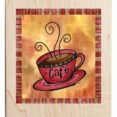 """Штамп резиновый на деревянной основе Janlynn 20113 """"Кофе Латте"""", 6,4х5,7 см"""