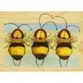 """Штамп резиновый на деревянной основе Janlynn 60058 """"Пчёлки"""", 12х7,5 см"""