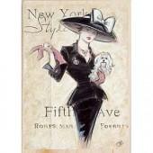 """Штамп резиновый на деревянной основе Janlynn 80426 """"Нью-Йоркская модница"""", 12,7х9 см"""
