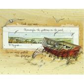 """Штамп резиновый на деревянной основе Janlynn 90014 """"Лодка"""", 13,9х11,4 см"""