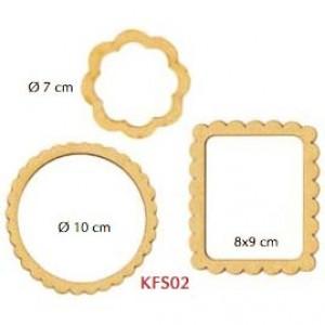 Рамочки декоративные KFS02 из МДФ, Stamperia, 3 шт., d=10 см, d=7 см, 9х8 см