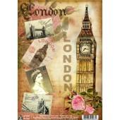 """Переводная декупажная карта D-067 """"Лондон"""", А4, Vintage Design"""