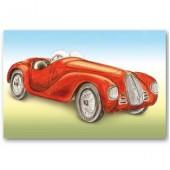 Открытка для создания объёмных композиций Красный ретроавтомобиль Stamperia  DF3D011A, 12х20 см