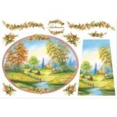 """Бумага рисовая для декупажа Stamperia DFS068 """"Пейзаж - Осень"""", 48х33 см"""