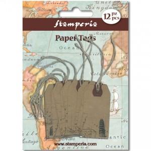 Бирки из крафт-бумаги Stamperia SBA59 с бечёвкой, 12 шт., 6х3 см