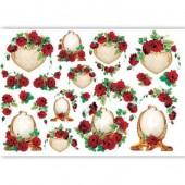 Рисовая бумага для декупажа Renkalik QSIPR214, 35х50 см, Рамки и красные розы