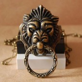 """Декоративная ручка для шкатулок ШРМ10 """"Голова льва"""" металлическая, 1 шт., цвет: античная бронза, 50х26 мм"""