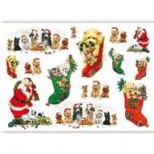 Рисовая бумага для декупажа Renkalik QSIPR171 новогодняя, 35х50 см, Тёплые подарки