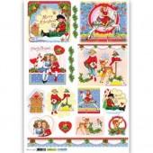 Рисовая бумага для декупажа Renkalik QSIPR237 новогодняя, 35х50 см, Дети в Рождество