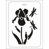 """Трафарет ТСИ-пц-007 """"Цветок Ириса и стрекозы"""" Event Design, 31х21 см"""
