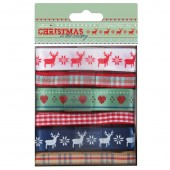 "Ленты декоративные PMA367109 ""Christmas in the Country"" DOCRAFTS, 6 лент по 1 м"