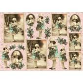 """Декупажная карта E-141 """"Новогодняя открытка"""", 42х29,7 см, 40 г/м2, Vintage Design"""