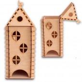 """Домик для чайных пакетиков """"С окошками"""" деревянный, арт. 12521, 25х10,5х10,5 см"""