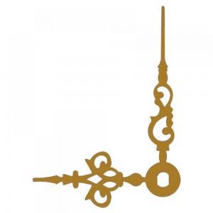 Стрелки 038 gold для часового механизма W2100 - золотые, металл, длина 46/35 мм