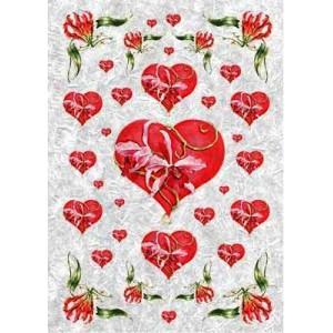 "Рисовая бумага для декупажа Kalit IRP0095 ""Сердце и орхидеи"", 32х45 см"