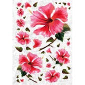 Рисовая бумага для декупажа Kalit IRP0102, 32х45 см, 25 г/м2, Розовый гибискус