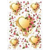"Рисовая бумага для декупажа Kalit IRP0106 ""Сердце в цветах"", 32х45 см"