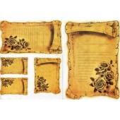 "Рисовая бумага для декупажа Kalit IRP0154 ""Пергамент с розами"", 32х45 см"