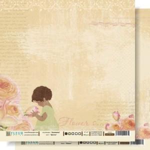 """Бумага для скрапбукинга двухсторонняя FD1000203 """"Цветок"""", коллекция """"Девичник"""", 30х30 см, Fleur design"""