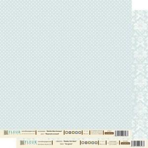 """Бумага для скрапбукинга двухсторонняя FD1000303 """"Морской Зелёный"""", коллекция """"Шебби Шик Базовая"""", 30х30 см, Fleur design"""