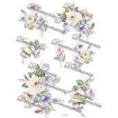 Рисовая бумага для декупажа Decomania, арт. 5005 Розы и вьюнок, 35х50 см, 20 г/кв.м