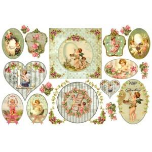 """Бумага рисовая для декупажа Stamperia DFS261 """"Пасхальные ангелы с розами"""", 48х33 см"""