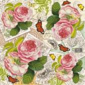 """Рисовая салфетка Stamperia для декупажа DFT242 """"Розы, письма и бабочки"""", 50х50 см"""