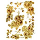 Декупажная карта Decomania 026, 30х42 см, 70 г/м2, Розы жёлто-коричнвые