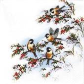 """Салфетка для декупажа """"Маленькие птички, зима, Рождество"""" бумажная, арт. 611334, 25х25 см"""