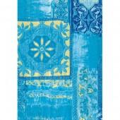 """Бумага для техники DECOPATCH 476 """"Орнамент на голубом с золотом"""", 30x40см"""