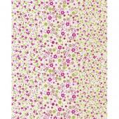 """Бумага для техники DECOPATCH 571 """"Мелкие зелёно-розовые цветочки на белом фоне"""", 30x40см"""