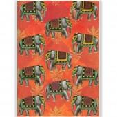 Бумага для декупажа SOFT PAPER TO-DO GW002, 50х70 см, Слоны на красном