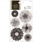 """Декоративные элементы """"Гофрированные цветы черно-белые"""" Midnight Blush, PMA359105, DOCRAFTS, 6 шт."""