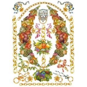 """Декупажная карта Calambour PR32 """"Лев, цепи, фрукты"""", 50х70 см"""