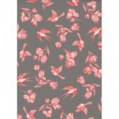 """Бумага для техники DECOPATCH 649 """"Розовые цветы и птицы на сером"""", 30x40см"""