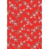 """Бумага для техники DECOPATCH 658 """"Розовые цветы на красном"""", 30x40см"""