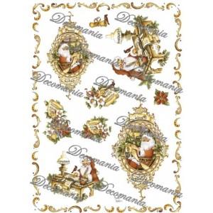 Декупажная карта Decomania S1243 Санта и ноты, 35х50 см, 70 г/м2