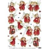 """Рисовая бумага для декупажа Decomania, арт. 5228 новогодняя """"Рождество, песня ангелов"""", 35х50 см"""
