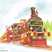 "Салфетка для декупажа ""Санта-экспресс"" бумажная, арт. 33304000, 33х33 см, на фото 1/4 салфетки"