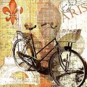 """Салфетка для декупажа """"Велосипедная прогулка по Парижу"""" бумажная SDL827000, 33х33 см, на фото 1/4 салфетки"""