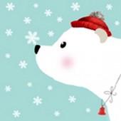 "Салфетка для декупажа ""Белый медвежонок"" бумажная, 25х25 см, на фото 1/4 салфетки, арт. 1109-14553"