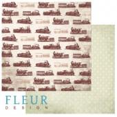 """Бумага для скрапбукинга двухсторонняя FD1001505 """"Путешествия. Стук колёс"""" Fleur design, 30х30 см"""