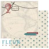 """Бумага для скрапбукинга двухсторонняя FD1001506 """"Путешествия. Вокруг света"""" Fleur design, 30х30 см"""